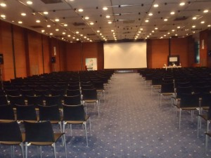 My auditorium before everyone arrived.  If only I could flik-flak down this aisle.